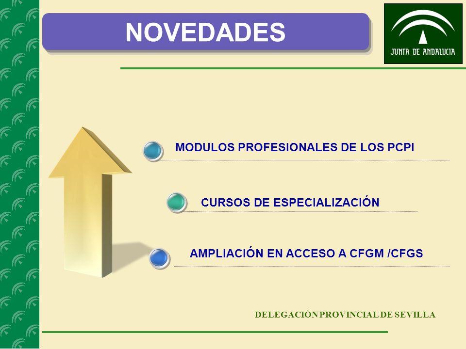 DELEGACIÓN PROVINCIAL DE SEVILLA MODULOS PROFESIONALES DE LOS PCPI CURSOS DE ESPECIALIZACIÓN AMPLIACIÓN EN ACCESO A CFGM /CFGS NOVEDADES