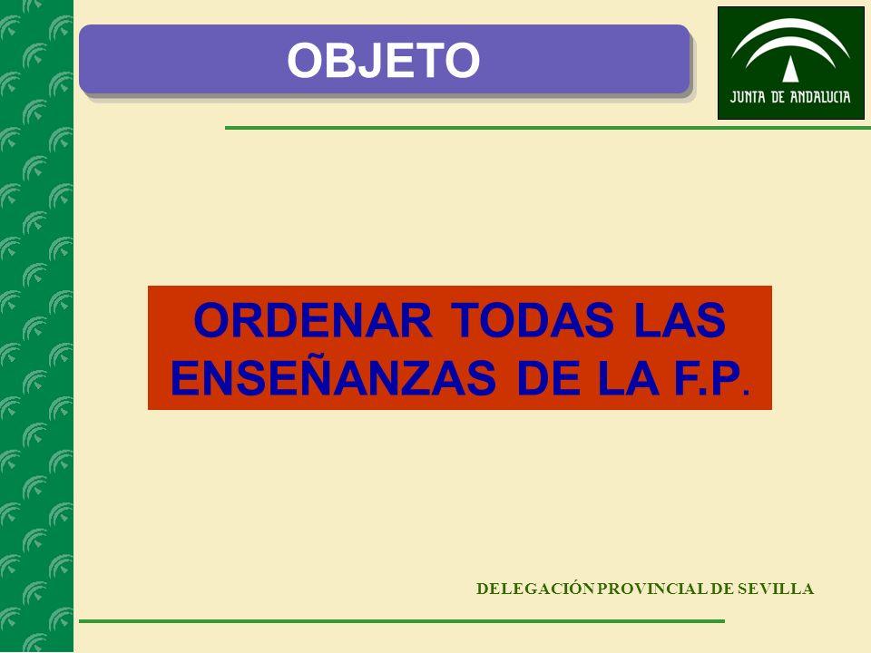 DELEGACIÓN PROVINCIAL DE SEVILLA ORDENAR TODAS LAS ENSEÑANZAS DE LA F.P. OBJETO