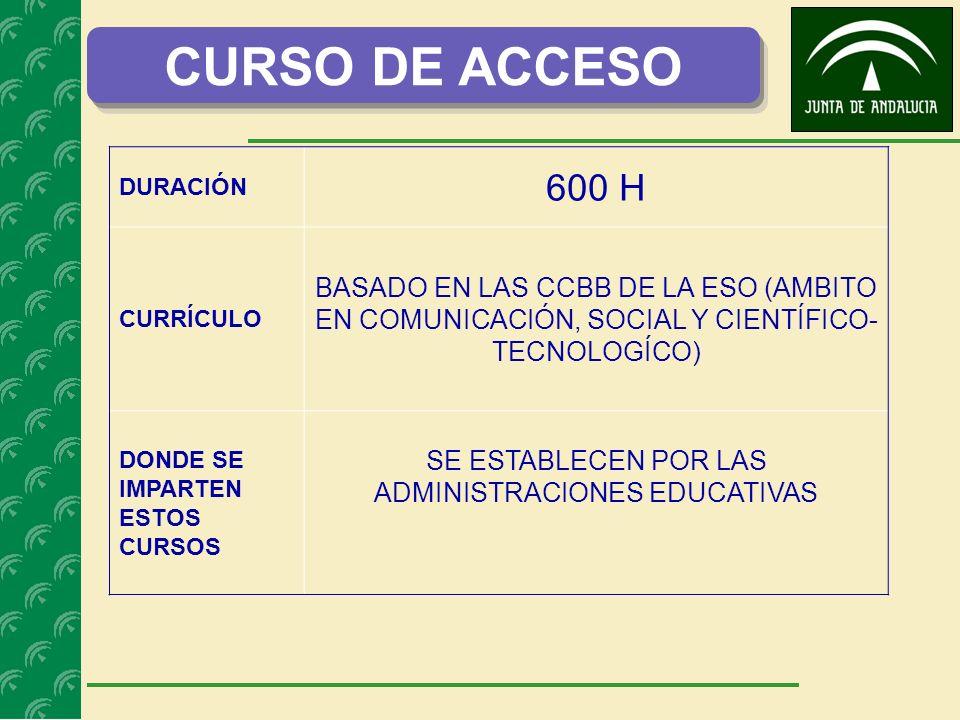 CURSO DE ACCESO DURACIÓN 600 H CURRÍCULO BASADO EN LAS CCBB DE LA ESO (AMBITO EN COMUNICACIÓN, SOCIAL Y CIENTÍFICO- TECNOLOGÍCO) DONDE SE IMPARTEN ESTOS CURSOS SE ESTABLECEN POR LAS ADMINISTRACIONES EDUCATIVAS
