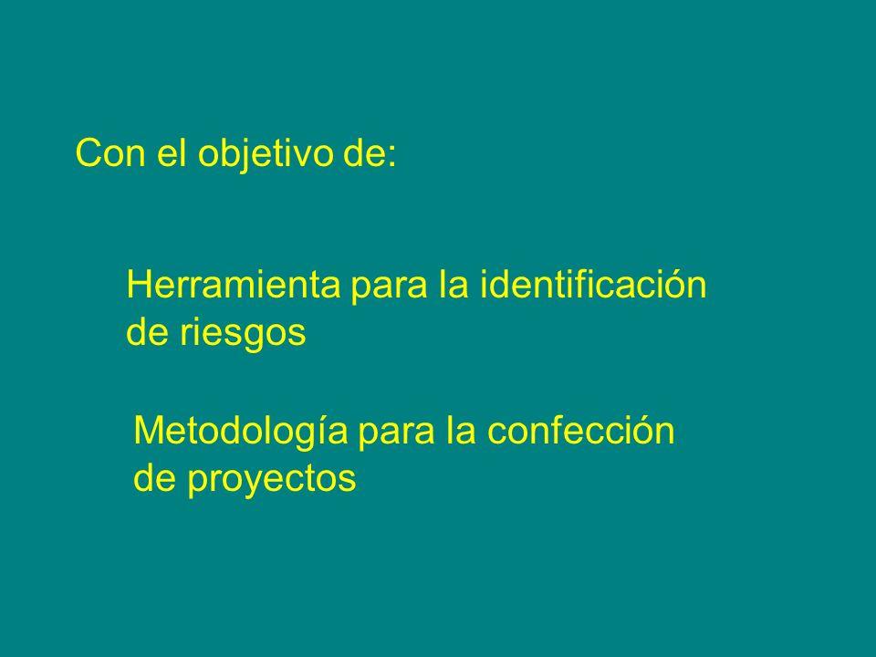 Con el objetivo de: Herramienta para la identificación de riesgos Metodología para la confección de proyectos