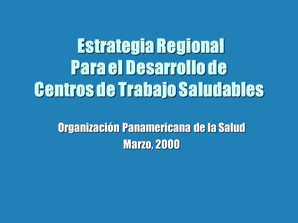 Objetivos de la Estrategia b Fortalecer la red regional, HeCONET de centros de trabajo saludables b Desarrollar un currículum sobre PST para la educación continuada y formal b Diseminar la metodología y las experiencias en la Región