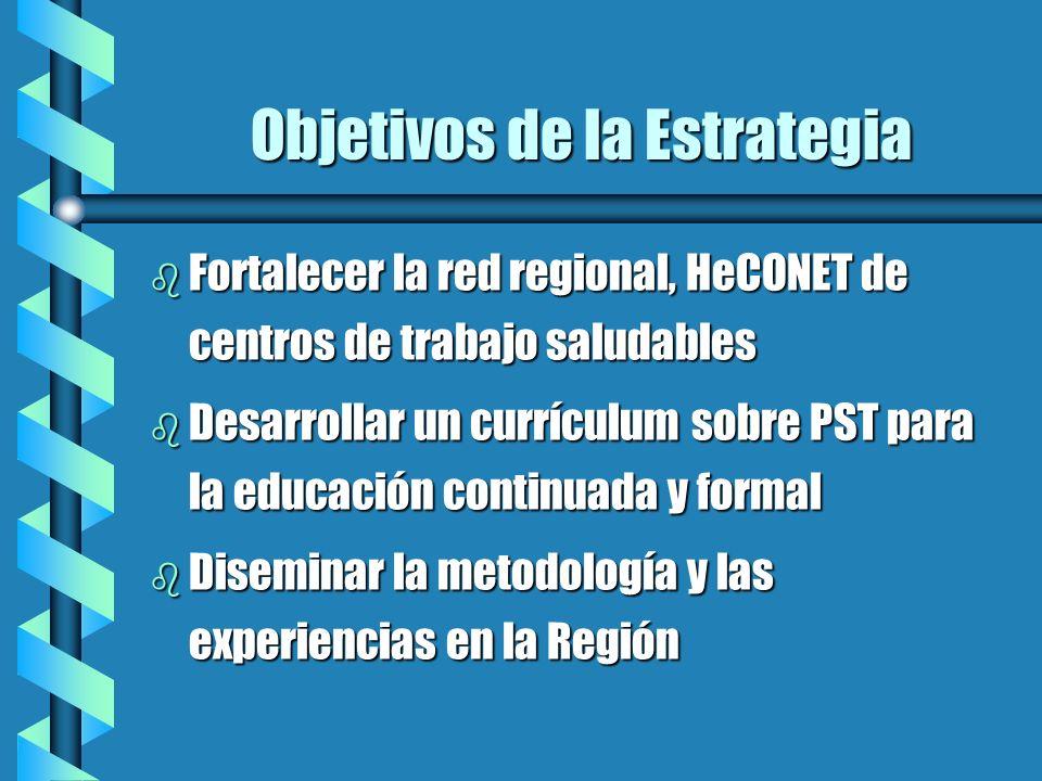 Objetivos de la Estrategia b Fortalecer la red regional, HeCONET de centros de trabajo saludables b Desarrollar un currículum sobre PST para la educac