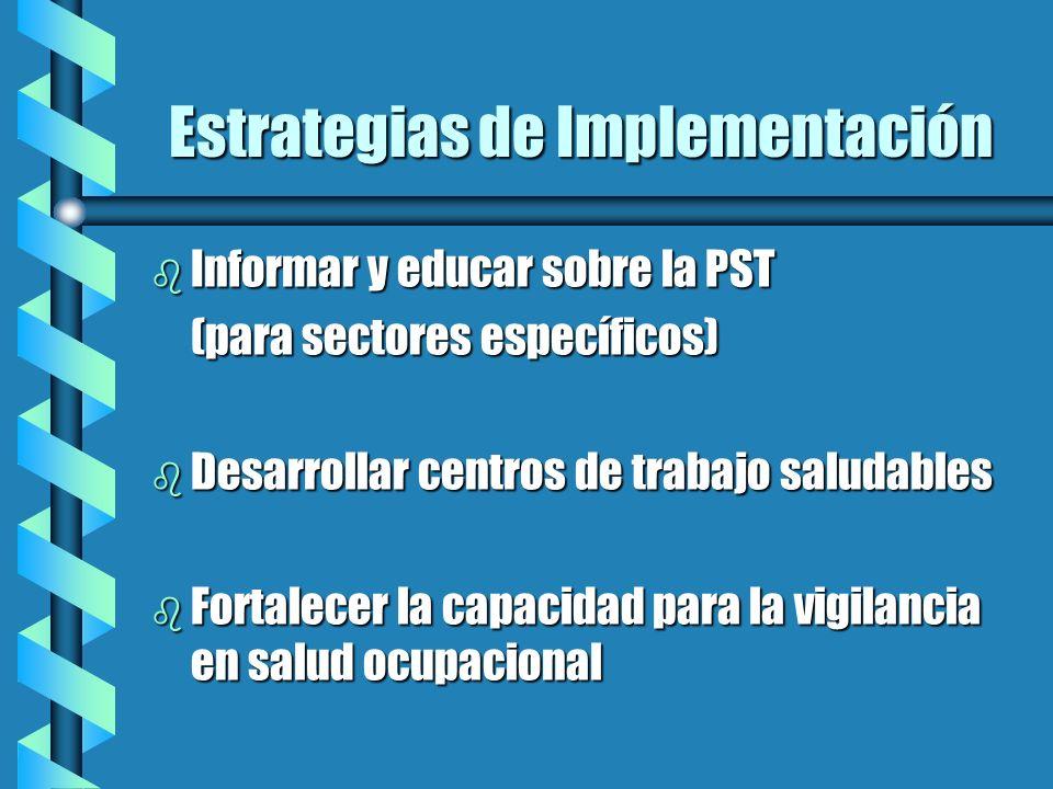 Estrategias de Implementación b Informar y educar sobre la PST (para sectores específicos) b Desarrollar centros de trabajo saludables b Fortalecer la