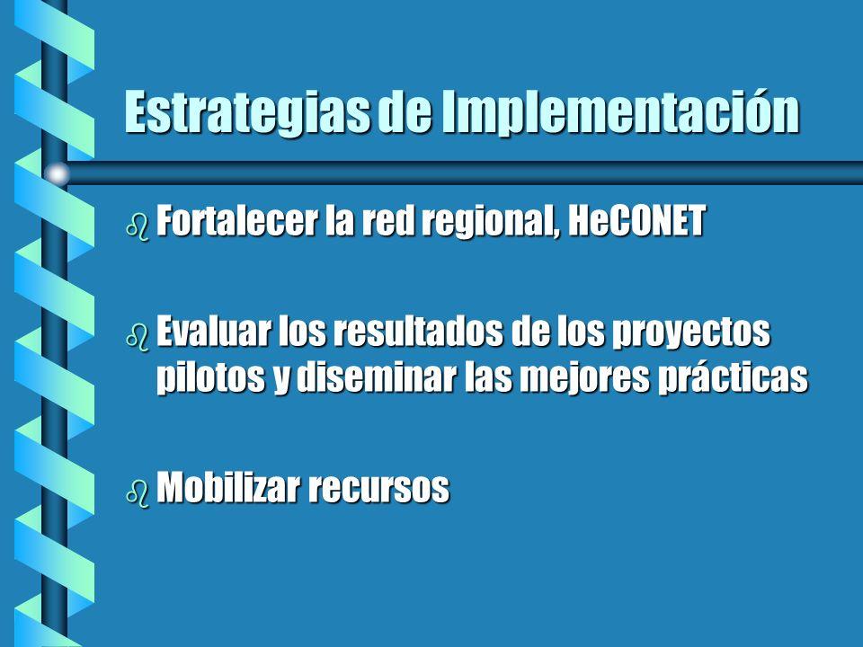 Estrategias de Implementación b Fortalecer la red regional, HeCONET b Evaluar los resultados de los proyectos pilotos y diseminar las mejores práctica
