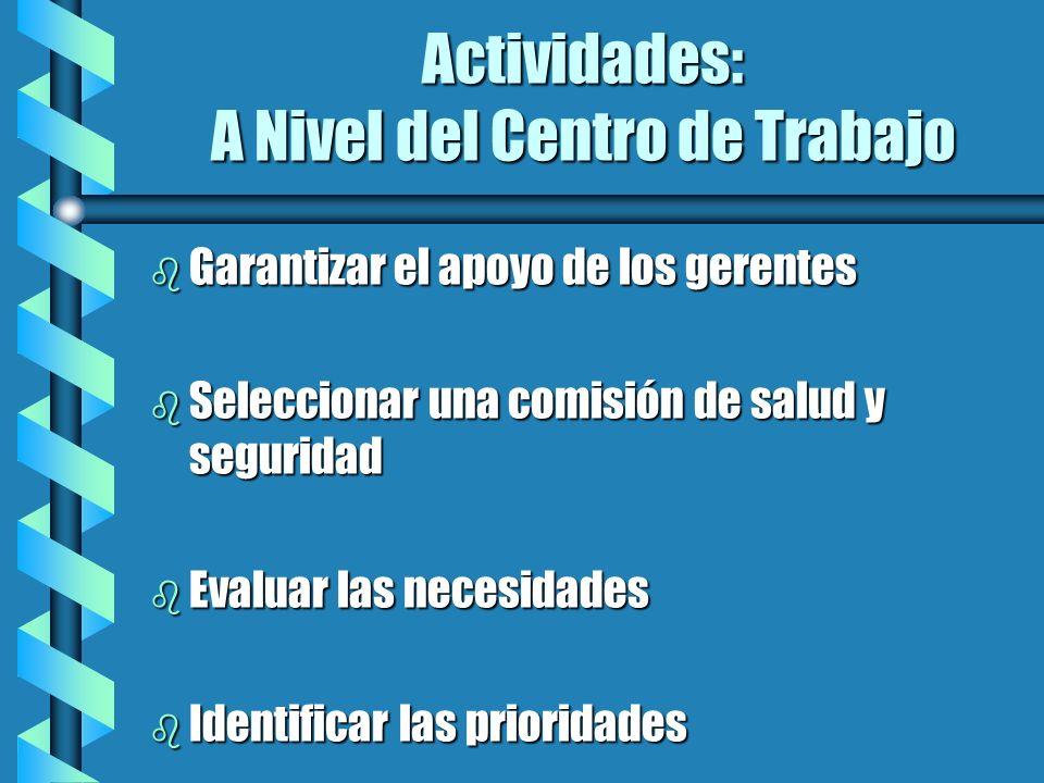 Actividades: A Nivel del Centro de Trabajo b Garantizar el apoyo de los gerentes b Seleccionar una comisión de salud y seguridad b Evaluar las necesid