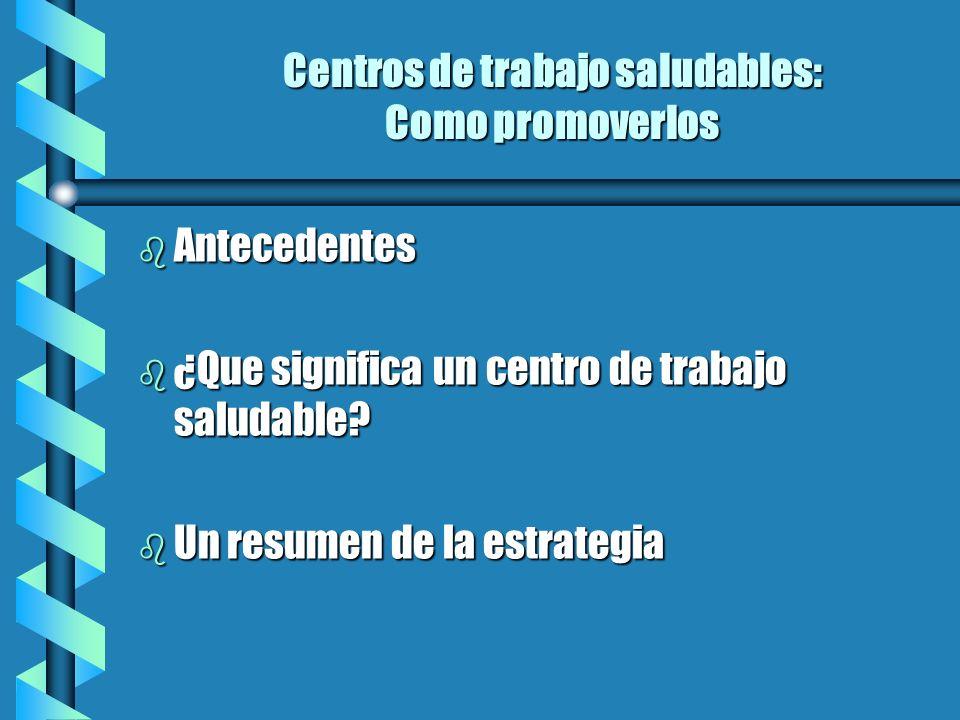Centros de trabajo saludables: Como promoverlos b Antecedentes b ¿Que significa un centro de trabajo saludable? b Un resumen de la estrategia