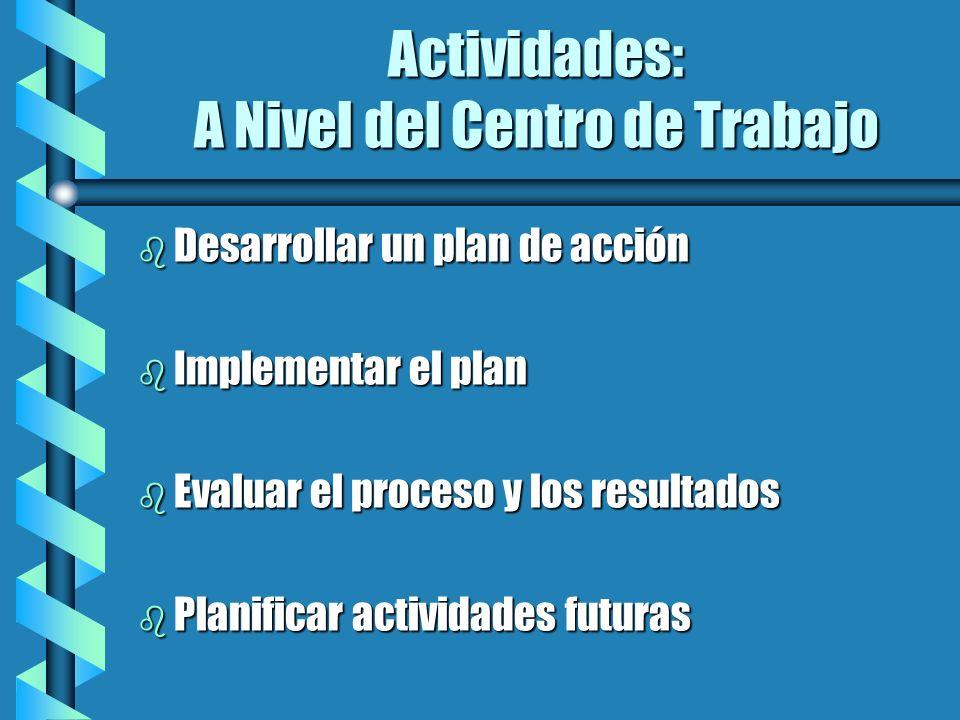 Actividades: A Nivel del Centro de Trabajo b Desarrollar un plan de acción b Implementar el plan b Evaluar el proceso y los resultados b Planificar ac