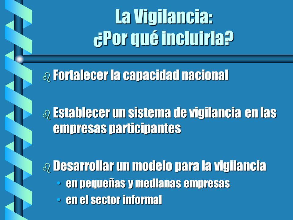 La Vigilancia: ¿Por qué incluirla? b Fortalecer la capacidad nacional b Establecer un sistema de vigilancia en las empresas participantes b Desarrolla