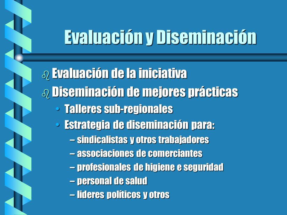 Evaluación y Diseminación b Evaluación de la iniciativa b Diseminación de mejores prácticas Talleres sub-regionalesTalleres sub-regionales Estrategia