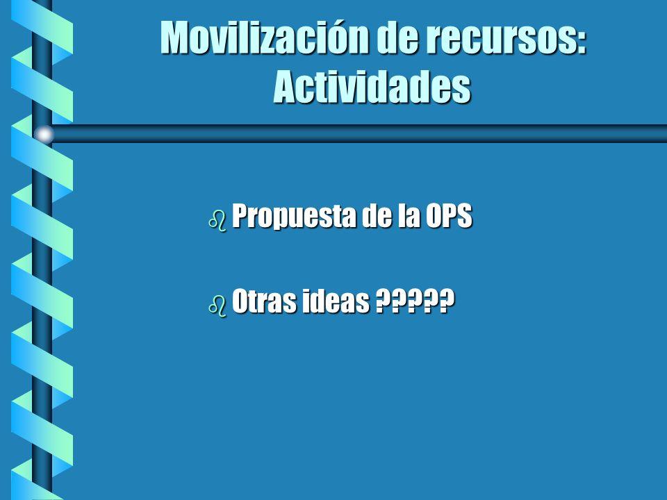 Movilización de recursos: Actividades b Propuesta de la OPS b Otras ideas ?????
