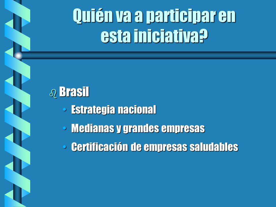 Quién va a participar en esta iniciativa? b Brasil Estrategia nacionalEstrategia nacional Medianas y grandes empresasMedianas y grandes empresas Certi