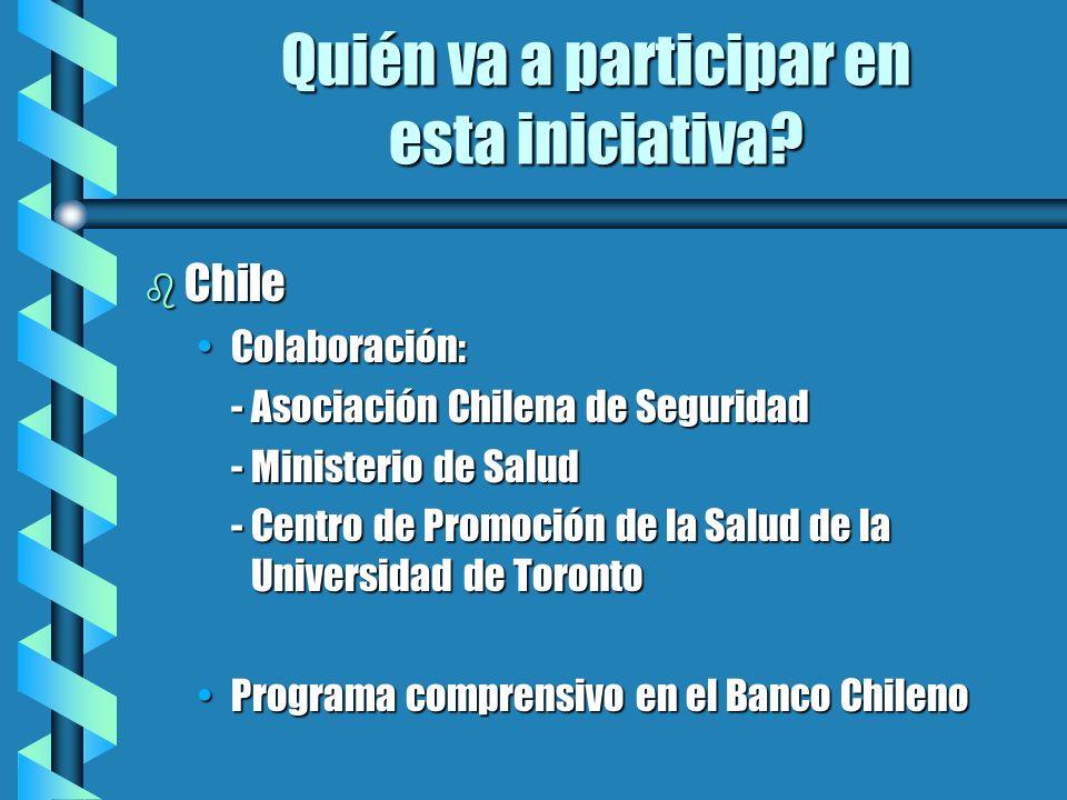 Quién va a participar en esta iniciativa? b Chile Colaboración:Colaboración: -Asociación Chilena de Seguridad -Ministerio de Salud -Centro de Promoció