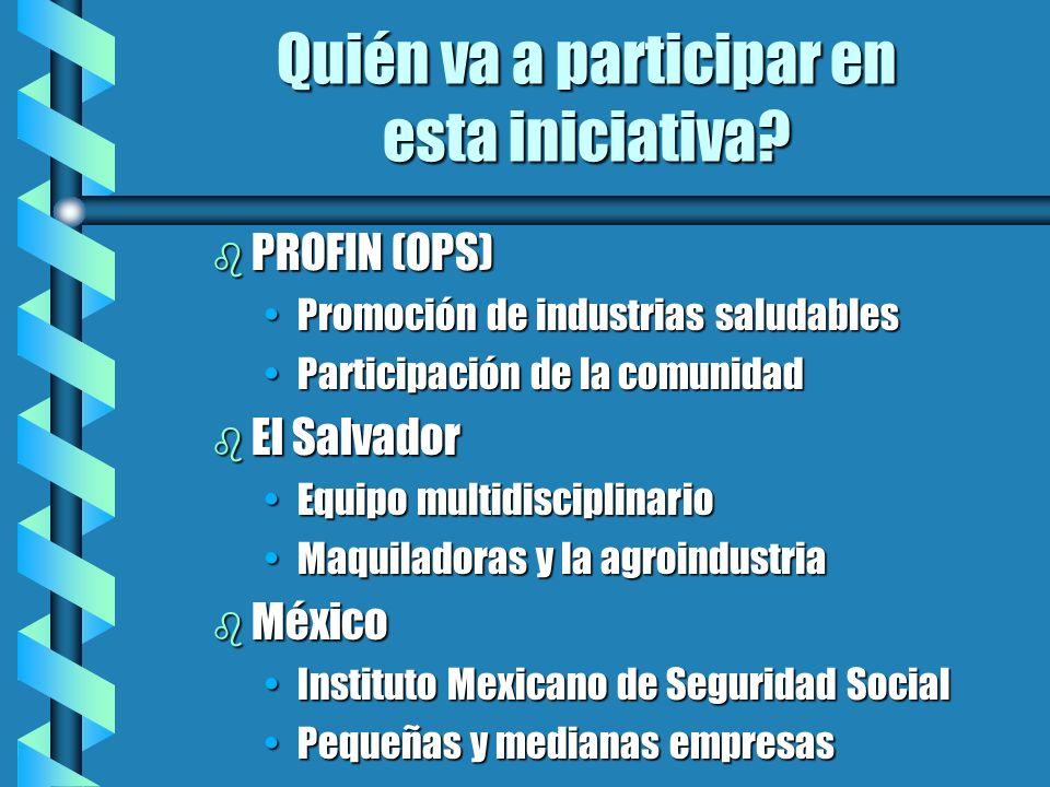 Quién va a participar en esta iniciativa? b PROFIN (OPS) Promoción de industrias saludablesPromoción de industrias saludables Participación de la comu
