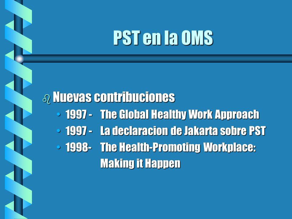 Que está haciendo la OMS ahora en PST.b Apoya el trabajo regional: guías, pautas.