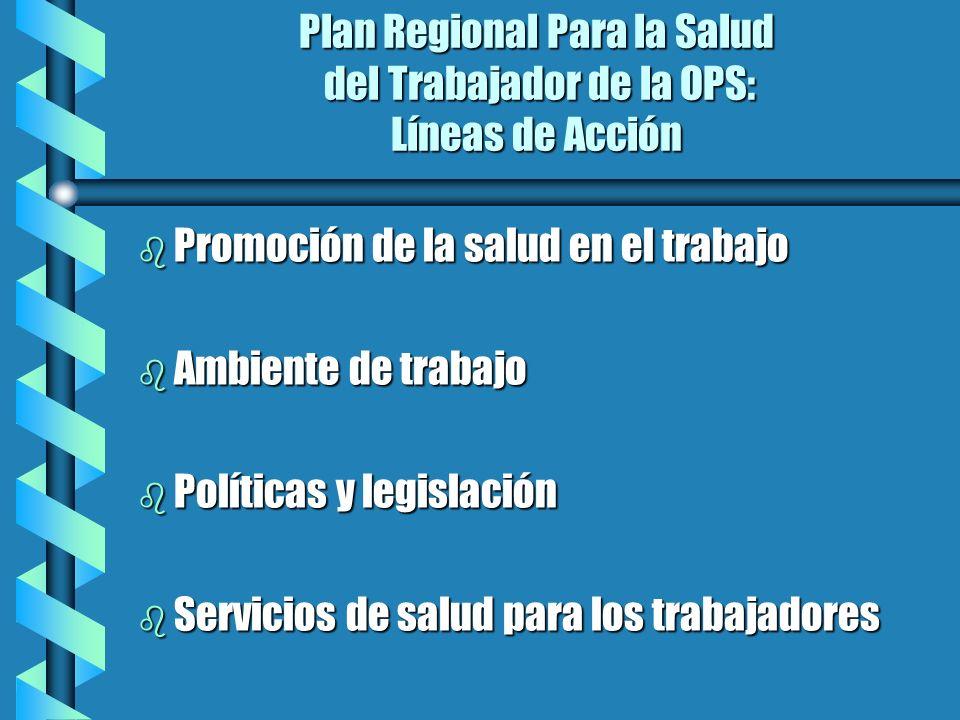 Plan Regional Para la Salud del Trabajador de la OPS: Líneas de Acción b Promoción de la salud en el trabajo b Ambiente de trabajo b Políticas y legis