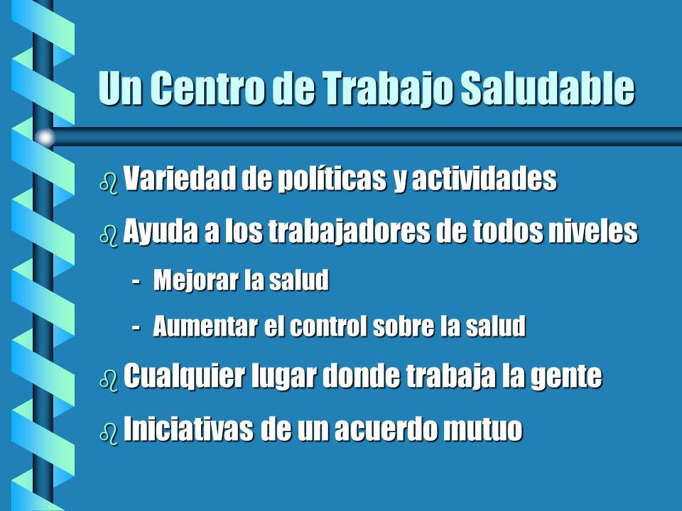Un Centro de Trabajo Saludable b Variedad de políticas y actividades b Ayuda a los trabajadores de todos niveles -Mejorar la salud -Aumentar el contro