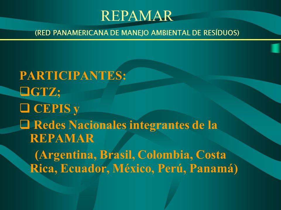 PARTICIPANTES: GTZ; CEPIS y Redes Nacionales integrantes de la REPAMAR (Argentina, Brasil, Colombia, Costa Rica, Ecuador, México, Perú, Panamá) REPAMAR (RED PANAMERICANA DE MANEJO AMBIENTAL DE RESÍDUOS)