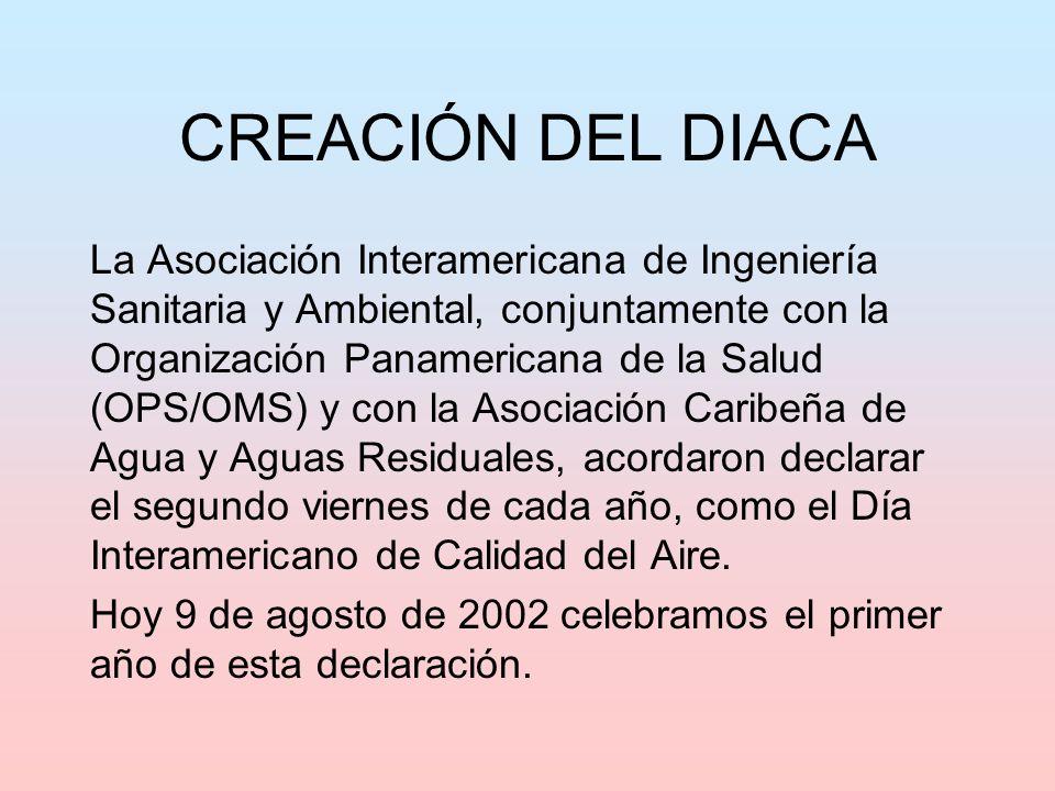 CREACIÓN DEL DIACA La Asociación Interamericana de Ingeniería Sanitaria y Ambiental, conjuntamente con la Organización Panamericana de la Salud (OPS/O