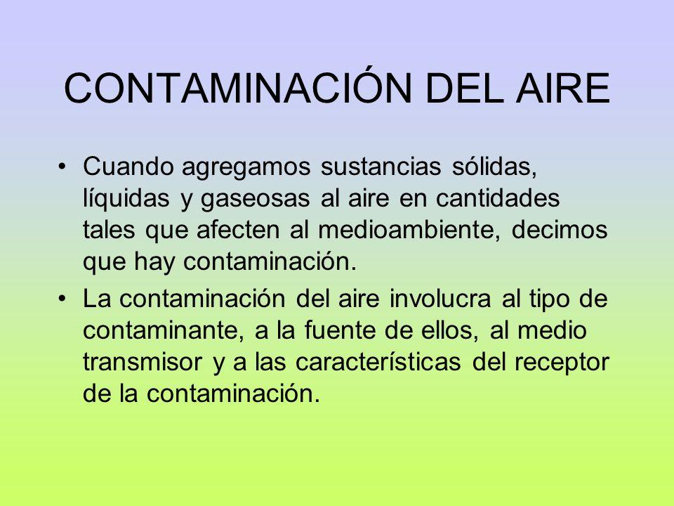 CONTAMINACIÓN DEL AIRE Cuando agregamos sustancias sólidas, líquidas y gaseosas al aire en cantidades tales que afecten al medioambiente, decimos que