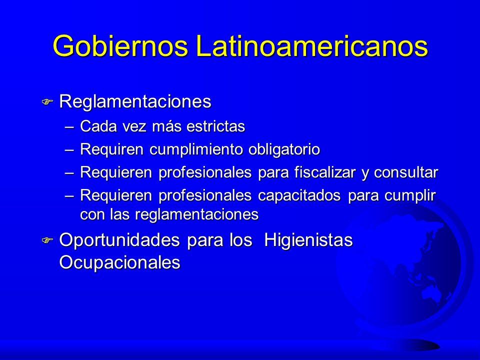 Gobiernos Latinoamericanos F Reglamentaciones –Cada vez más estrictas –Requiren cumplimiento obligatorio –Requieren profesionales para fiscalizar y co