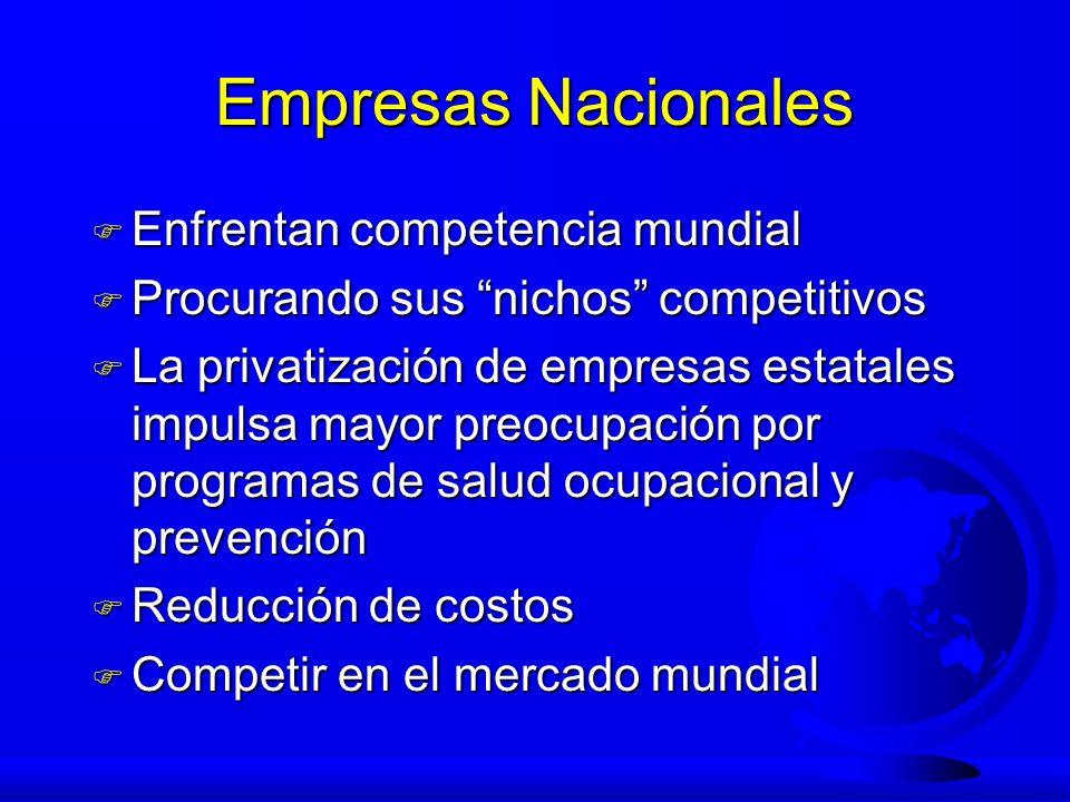 Empresas Nacionales F Enfrentan competencia mundial F Procurando sus nichos competitivos F La privatización de empresas estatales impulsa mayor preocu