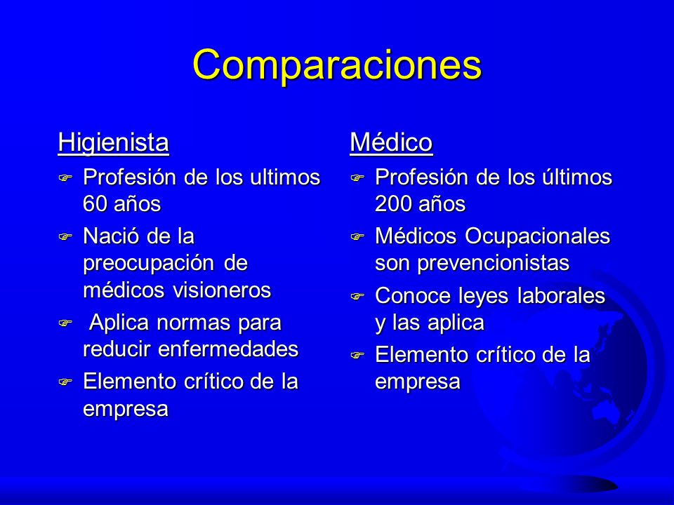 Comparaciones Higienista F Profesión de los ultimos 60 años F Nació de la preocupación de médicos visioneros F Aplica normas para reducir enfermedades