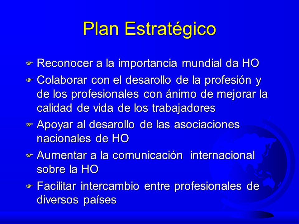 Plan Estratégico F Reconocer a la importancia mundial da HO F Colaborar con el desarollo de la profesión y de los profesionales con ánimo de mejorar l
