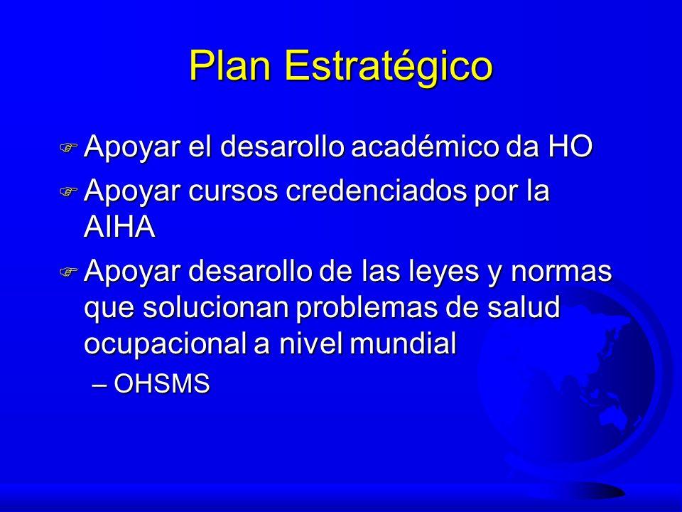Plan Estratégico F Apoyar el desarollo académico da HO F Apoyar cursos credenciados por la AIHA F Apoyar desarollo de las leyes y normas que soluciona