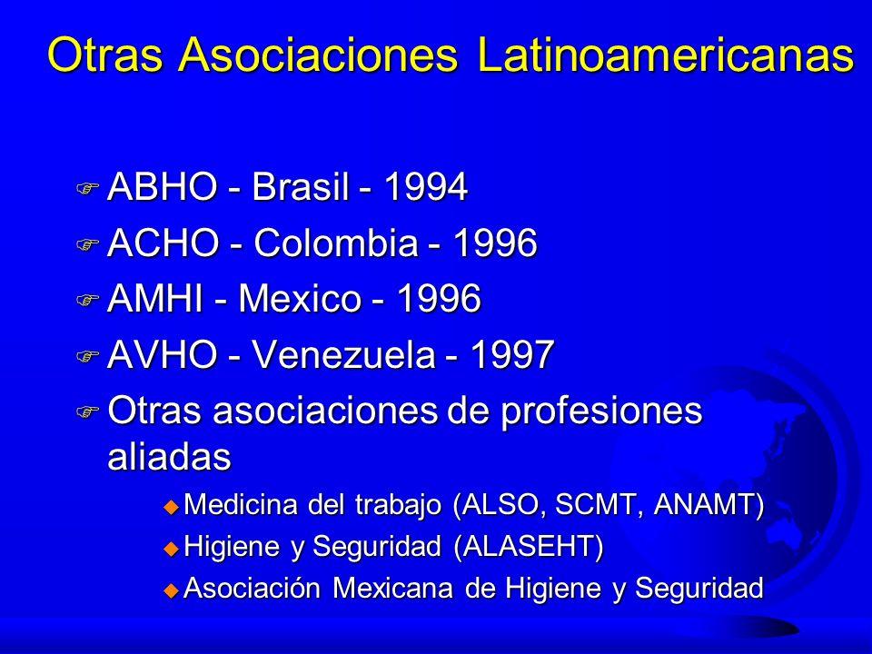 Otras Asociaciones Latinoamericanas F ABHO - Brasil - 1994 F ACHO - Colombia - 1996 F AMHI - Mexico - 1996 F AVHO - Venezuela - 1997 F Otras asociacio