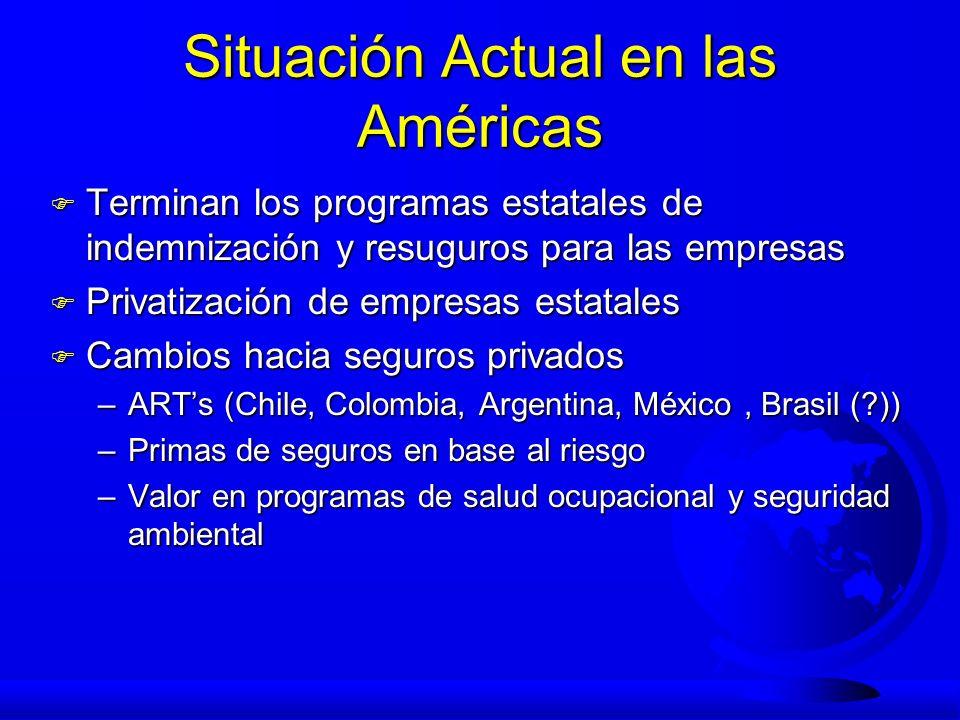 Situación Actual en las Américas F Terminan los programas estatales de indemnización y resuguros para las empresas F Privatización de empresas estatal