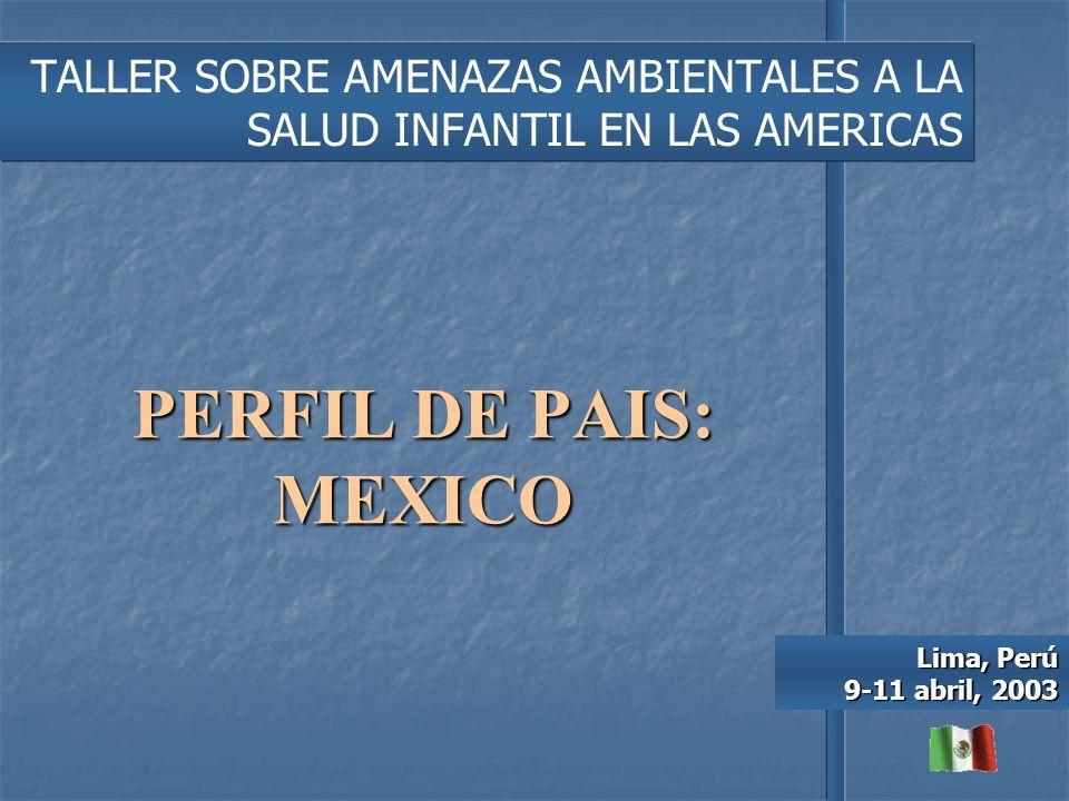 PERFIL DE PAIS: MEXICO TALLER SOBRE AMENAZAS AMBIENTALES A LA SALUD INFANTIL EN LAS AMERICAS Lima, Perú 9-11 abril, 2003