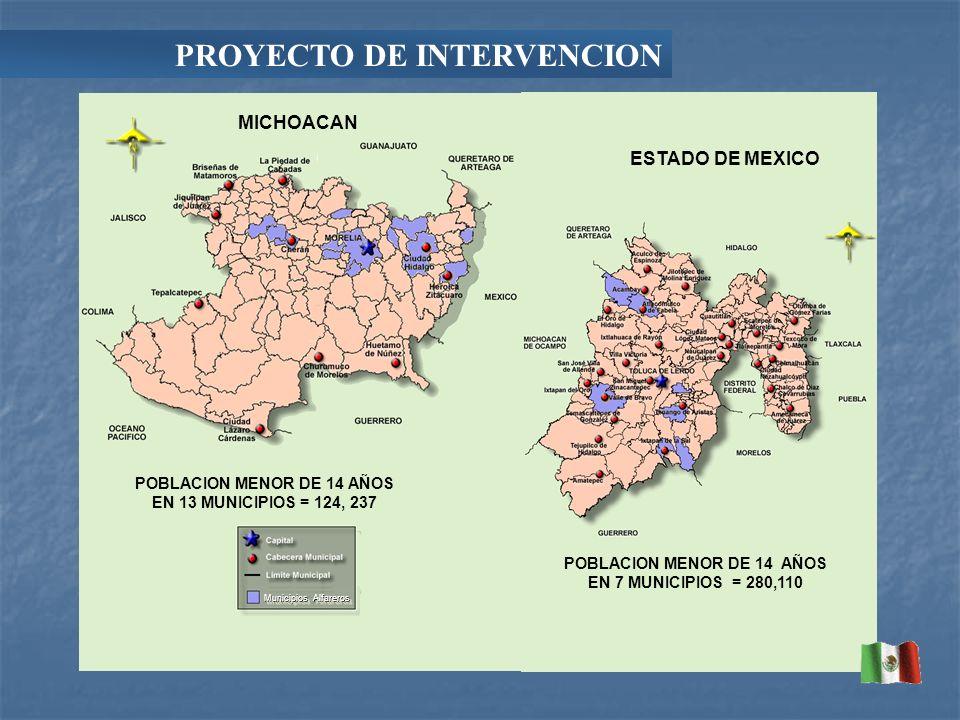 MICHOACAN ESTADO DE MEXICO POBLACION MENOR DE 14 AÑOS EN 13 MUNICIPIOS = 124, 237 POBLACION MENOR DE 14 AÑOS EN 7 MUNICIPIOS = 280,110 Municipios Alfareros PROYECTO DE INTERVENCION