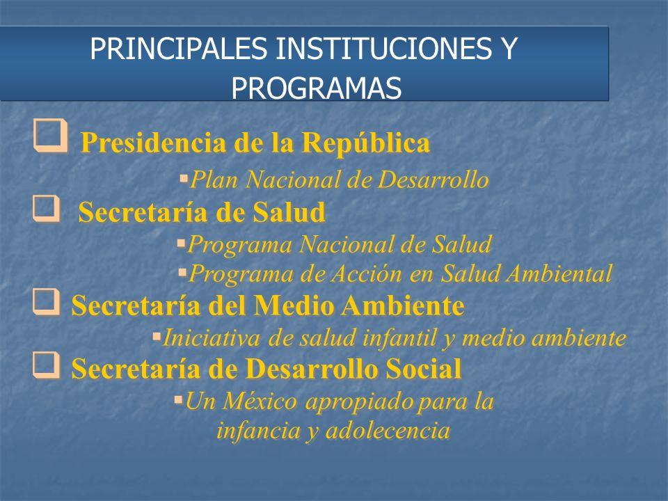 PRINCIPALES INSTITUCIONES Y PROGRAMAS Presidencia de la República Plan Nacional de Desarrollo Secretaría de Salud Programa Nacional de Salud Programa