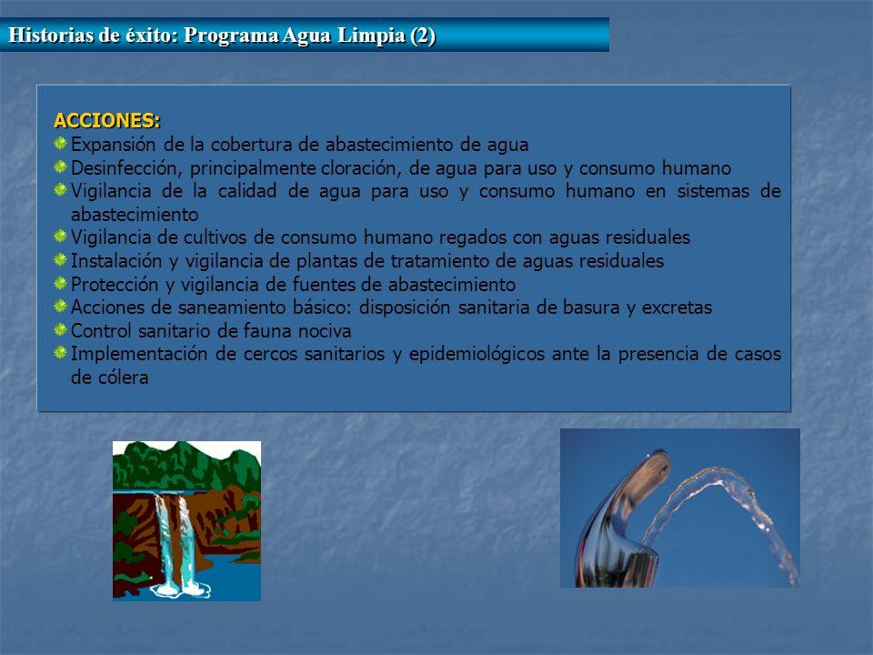 ACCIONES: Expansión de la cobertura de abastecimiento de agua Desinfección, principalmente cloración, de agua para uso y consumo humano Vigilancia de