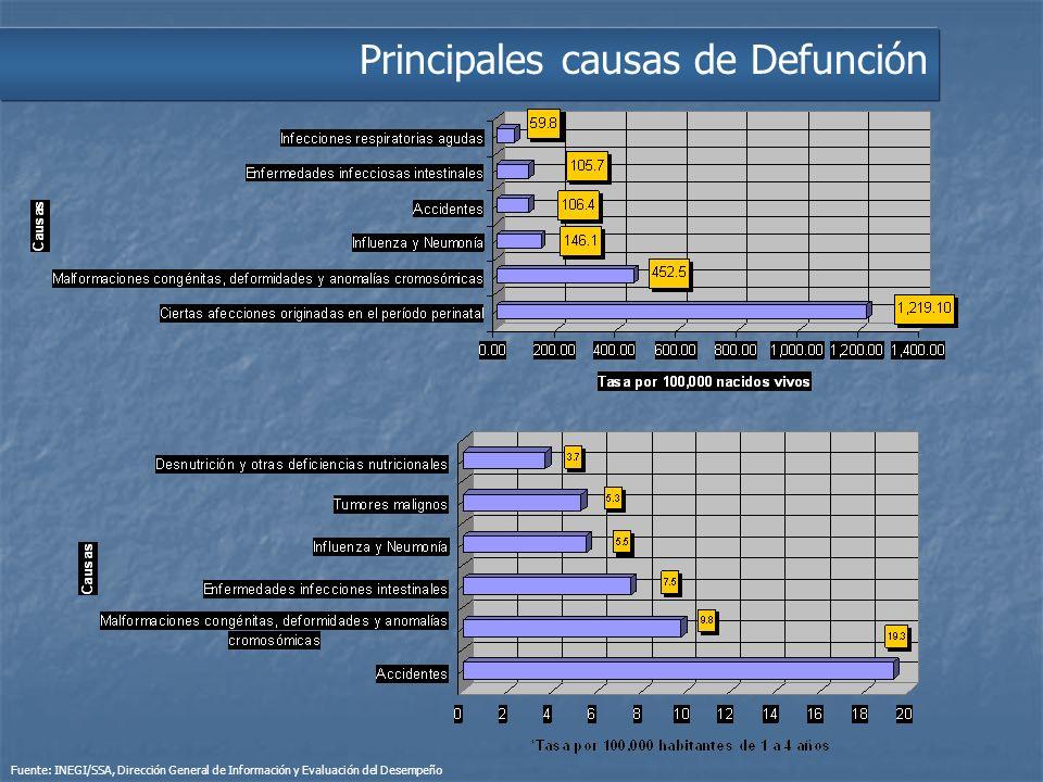 Principales causas de Defunción Fuente: INEGI/SSA, Dirección General de Información y Evaluación del Desempeño