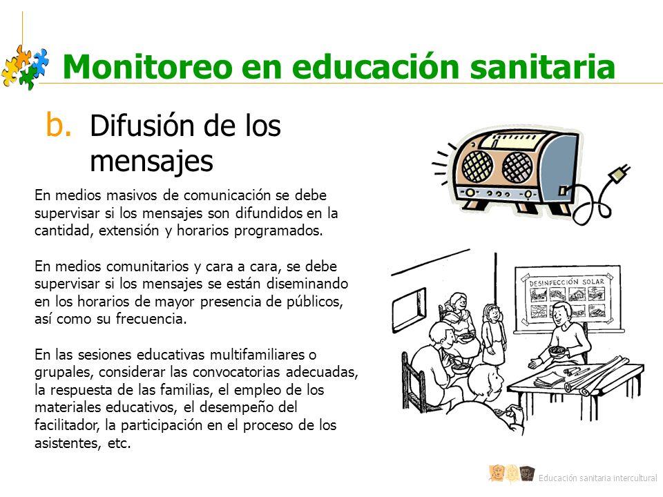 Educación sanitaria intercultural Monitoreo en educación sanitaria b. Difusión de los mensajes En medios masivos de comunicación se debe supervisar si
