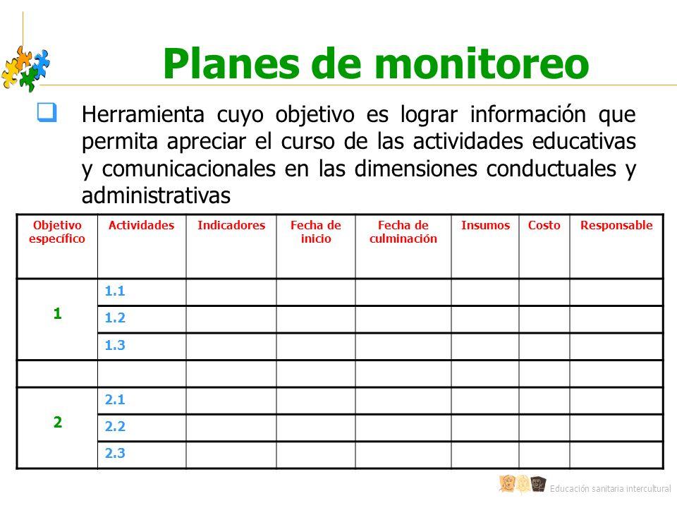 Educación sanitaria intercultural Planes de monitoreo Objetivo específico ActividadesIndicadoresFecha de inicio Fecha de culminación InsumosCostoRespo
