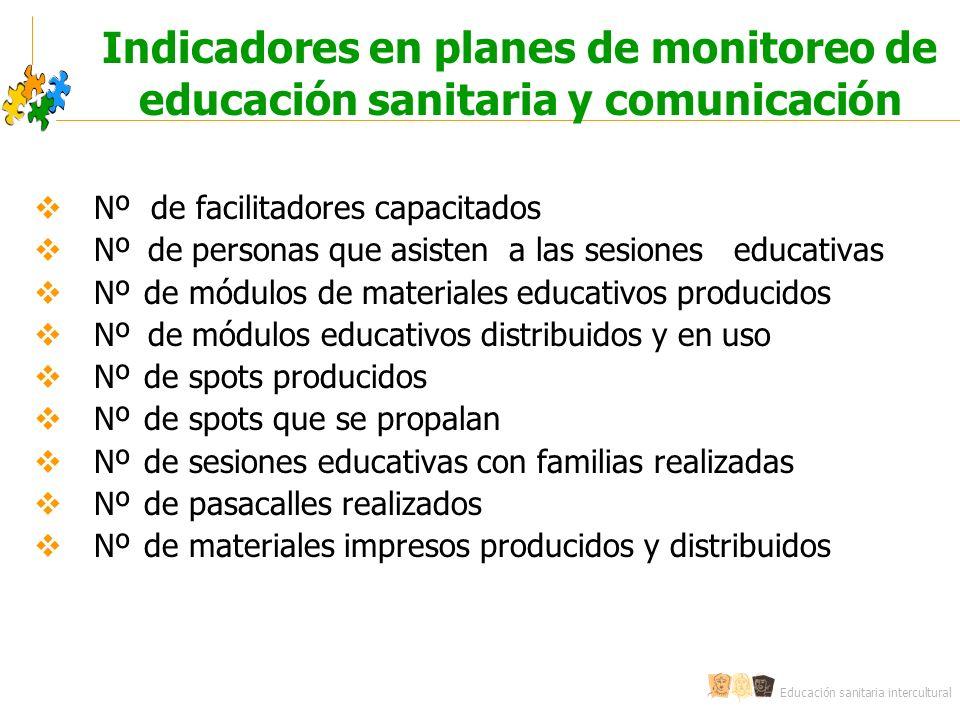 Educación sanitaria intercultural Indicadores en planes de monitoreo de educación sanitaria y comunicación Nº de facilitadores capacitados Nº de perso