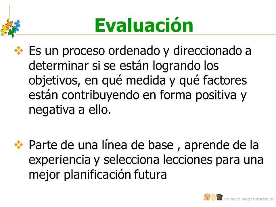 Educación sanitaria intercultural Evaluación Es un proceso ordenado y direccionado a determinar si se están logrando los objetivos, en qué medida y qu