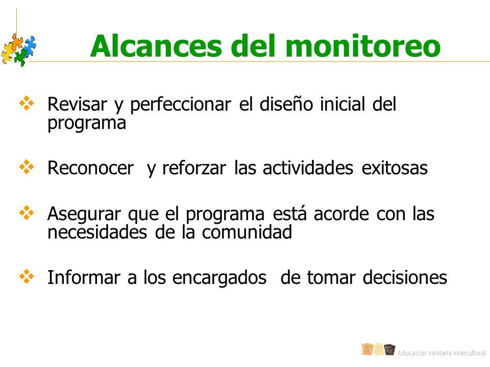Educación sanitaria intercultural Alcances del monitoreo Revisar y perfeccionar el diseño inicial del programa Reconocer y reforzar las actividades ex