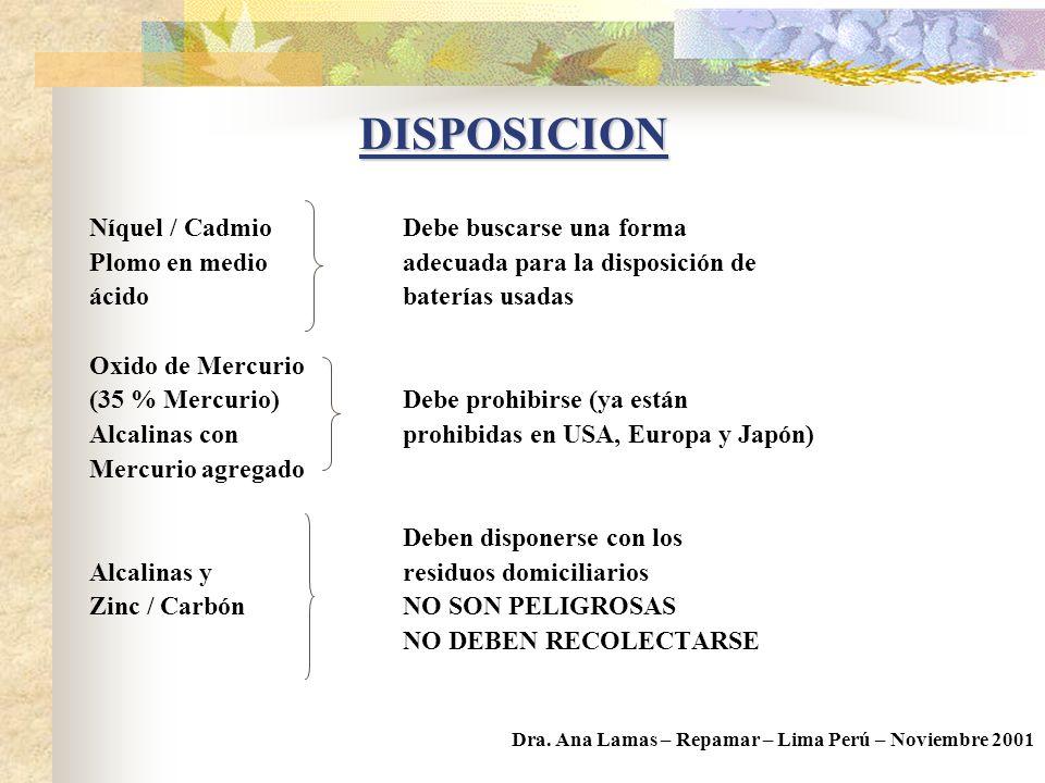 REDUCCION EN LA FUENTE DISPOSICION DEL RESIDUO Dra. Ana Lamas – Repamar – Lima Perú – Noviembre 2001