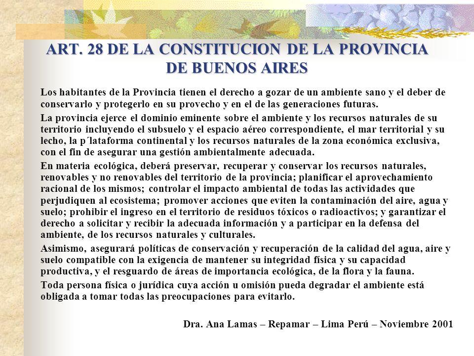 ARTICULO 41 DE LA CONSTITUCION NACIONAL Todos los habitantes gozan del derecho a un ambiente sano, equilibrado, apto para el desarrollo humano y para