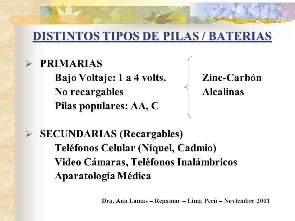 DEFINICION PILA o BATERIA: Dispositivo que convierte la energía química en energía eléctrica. Pilas húmedas Pilas secas: - Primarias - Recargables – S