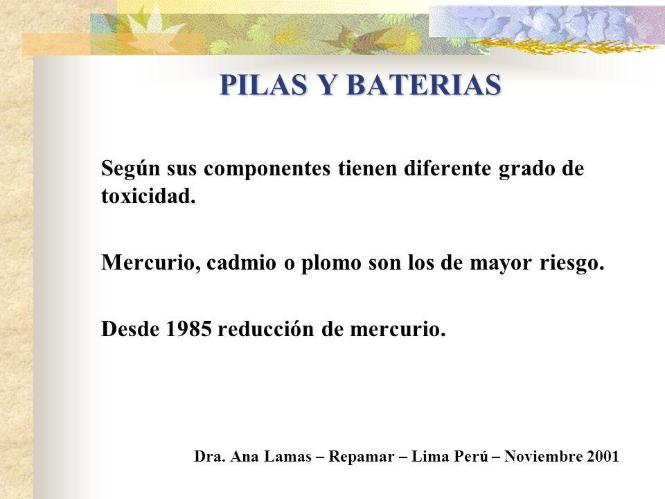 DISTINTOS TIPOS DE PILAS / BATERIAS PRIMARIAS Bajo Voltaje: 1 a 4 volts.Zinc-Carbón No recargablesAlcalinas Pilas populares: AA, C SECUNDARIAS (Recarg
