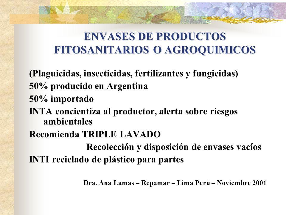 Instrumento economico idel para aceites es el de cargo al producto nuevo: se crea un fondo para manejo adecuado Dra. Ana Lamas – Repamar – Lima Perú –