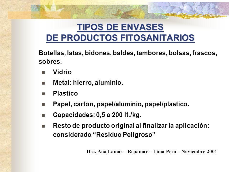 ENVASES DE PRODUCTOS FITOSANITARIOS O AGROQUIMICOS (Plaguicidas, insecticidas, fertilizantes y fungicidas) 50% producido en Argentina 50% importado IN