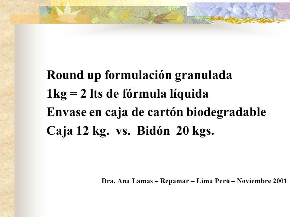 PRODUCTOS: Nuevas Tecnologias (menor toxicidad del residuo) Formulaciones mas concentradas. Formulacion - en base acuosa. - solida granular ENVASES: D