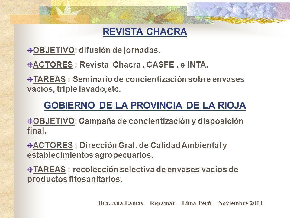 CASAFE - GTZ - INTA – Gob. Pcia. de Río Negro. OBJETIVO: creación de un Centro de Acopio y Compactación de envases de agroquímicos. ACTORES: CASAFE, G