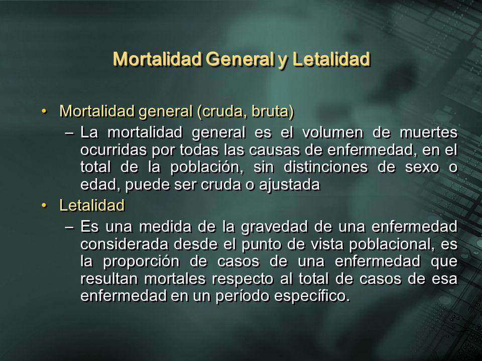 Mortalidad General y Letalidad Mortalidad general (cruda, bruta) –La mortalidad general es el volumen de muertes ocurridas por todas las causas de enf