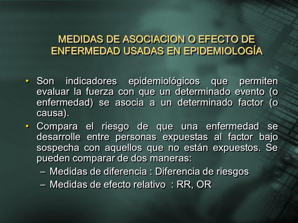 Son indicadores epidemiológicos que permiten evaluar la fuerza con que un determinado evento (o enfermedad) se asocia a un determinado factor (o causa).